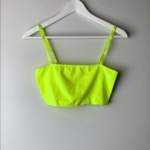 American Apparel Cotton Spandex Crop Neon Yellow
